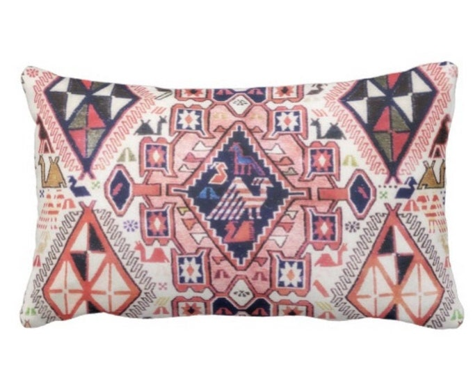 """OUTDOOR Tribal Geo PRINTED w/ Birds Throw Pillow or Cover, Pink/Blue 14 x 20"""" Lumbar Pillows or Covers Red Geometric/Boho/Carpet/Rug Pattern"""