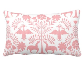 "OUTDOOR Otomi Throw Pillow or Cover, Light Pink/White 14 x 20"" Lumbar Pillows/Covers, Mexican/Boho/Floral/Animals/Nature Print/Pattern"