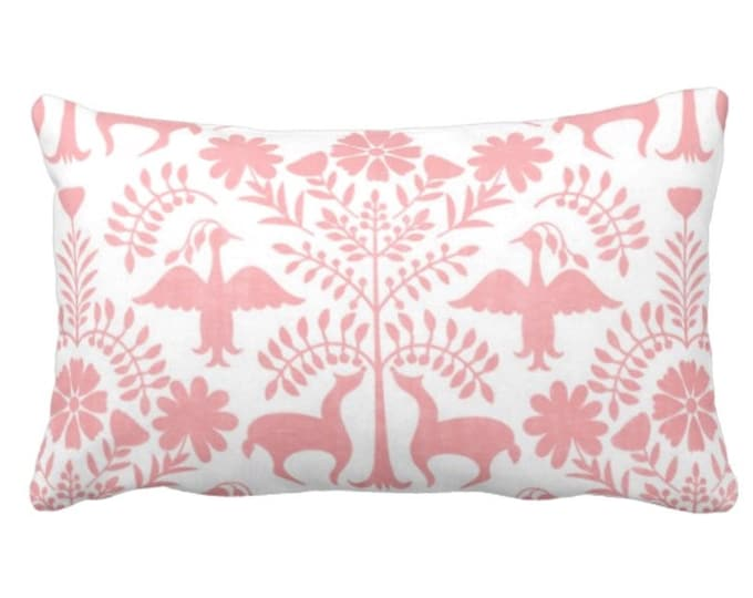 """OUTDOOR Otomi Throw Pillow or Cover, Light Pink/White 14 x 20"""" Lumbar Pillows/Covers, Mexican/Boho/Floral/Animals/Nature Print/Pattern"""