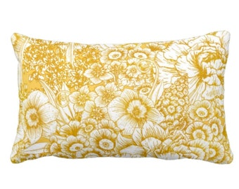 "OUTDOOR Retro Floral Throw Pillow or Cover, Mustard/White 14 x 20"" Lumbar Pillows or Covers, Yellow/Goldenrod, Flowers/Botanical/Print"