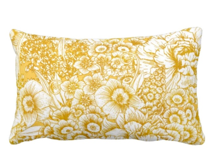 """OUTDOOR Retro Floral Throw Pillow or Cover, Mustard/White 14 x 20"""" Lumbar Pillows or Covers, Yellow/Goldenrod, Flowers/Botanical/Print"""