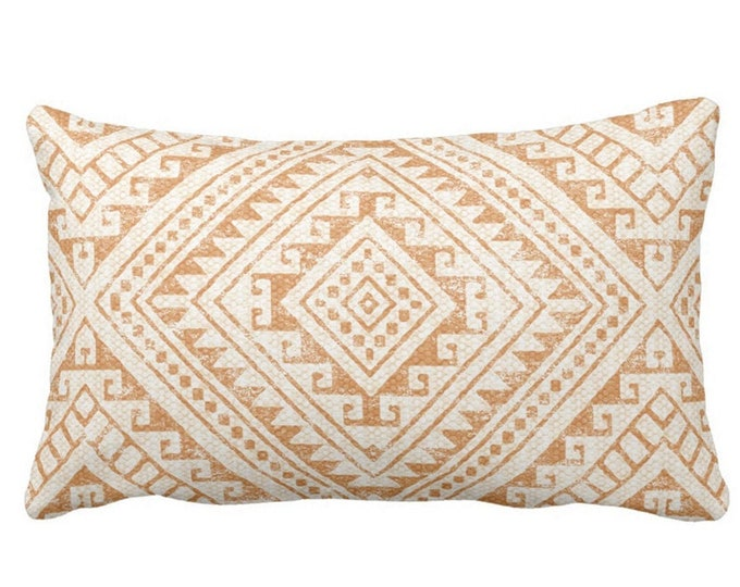 "OUTDOOR Diamond Geo Throw Pillow or Cover, Adobe 14 x 20"" Lumbar Pillows/Covers, Earth Orange/Tan Geometric/Batik/Geo/Tribal Print"