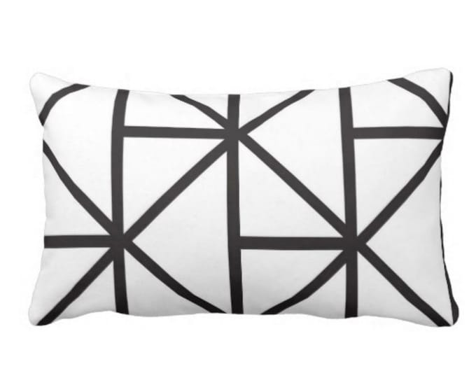 "Geometric Lumbar Throw Pillow or Cover, 14 x 20"" Modern Black & White Print Pillows or Covers, Geo Lines/Stripes/Lattice/Diamonds"