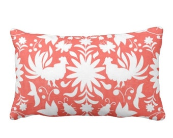 "OUTDOOR Otomi Throw Pillow Cover, Coral/White 14 x 20"" Lumbar Pillows/Covers, Mexican/Boho/Floral/Animals/Nature Print/Pattern"