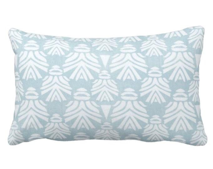 "OUTDOOR Block Print African Mask Throw Pillow or Cover, Sky 14 x 20"" Lumbar Pillows/Covers Light Blue/Green Blockprint/Tribal/Boho Pattern"
