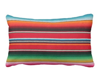 """OUTDOOR Serape Stripe Throw Pillow or Cover, Printed Mexican Blanket 14 x 20"""" Lumbar Pillows or Covers, Rainbow/Colorful/Stripes/Striped"""