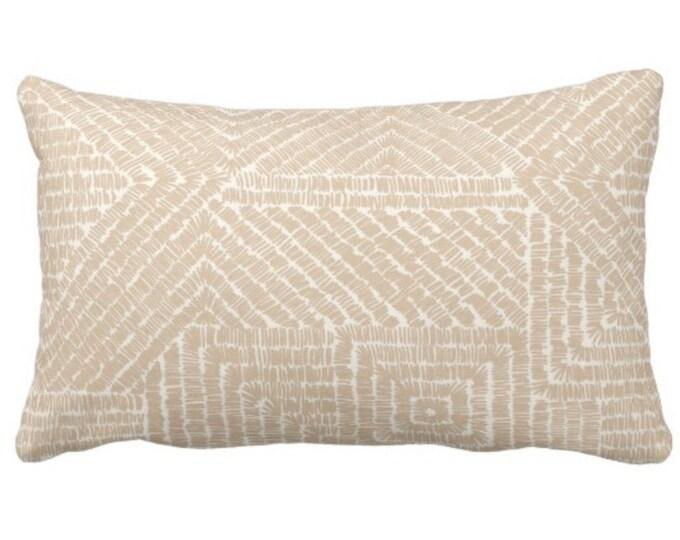 "OUTDOOR Tribal Geo Throw Pillow or Cover, Sand 14 x 20"" Lumbar Pillows/Covers, Light Beige/Flax/Cream Scratch Geometric/Batik/Geo Print"
