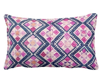 "PRINTED Chinese Wedding Blanket Print Throw Pillow or Cover, Navy, Pink, Purple 14 x 20"" Lumbar Pillows or Covers, Vintage Embroidery"