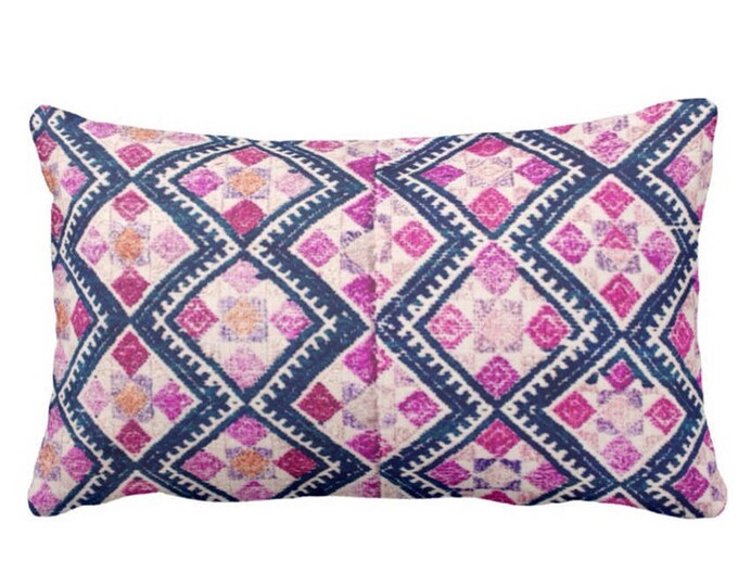"""Chinese Wedding Blanket Printed Throw Pillow or Cover, Navy, Pink, Purple 14 x 20"""" Lumbar Pillows or Covers, Vintage Embroidery"""