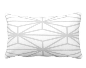 """OUTDOOR Modern Geo Throw Pillow or Cover, Gray/White Print 14 x 20"""" Lumbar Pillows/Covers, Light Grey Lines/Japanese/Geometric/Stripe"""