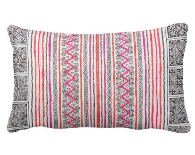 "Thai Batik PRINTED Throw Pillow or Cover, Indigo/Pink/Orange 14 x 20"" Lumbar Pillow or Covers, Vintage Hmong/Maio Embroidery Textile Print"