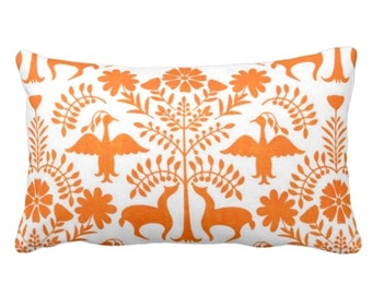 "OUTDOOR Otomi Throw Pillow or Cover, White/Orange 14 x 20"" Lumbar Pillows/Covers, Mexican/Boho/Floral/Animals/Nature Print/Pattern"
