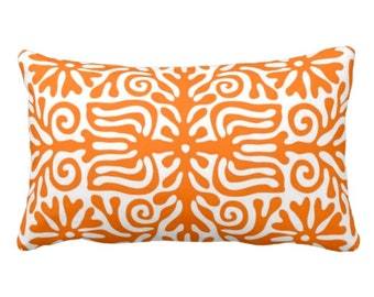 """OUTDOOR Folk Floral Throw Pillow or Cover, Orange/White 14 x 20"""" Lumbar Pillows or Covers, Bright Mexican/Boho/Bohemian/Tribal/Flower"""