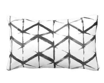 "READY 2 SHIP/SALE Shadow Geo Print Throw Pillow Cover, Black/White 14 x 20"" Lumbar Pillows Covers, Chevron/Stripe/Lines/Geometric/Art/Print"