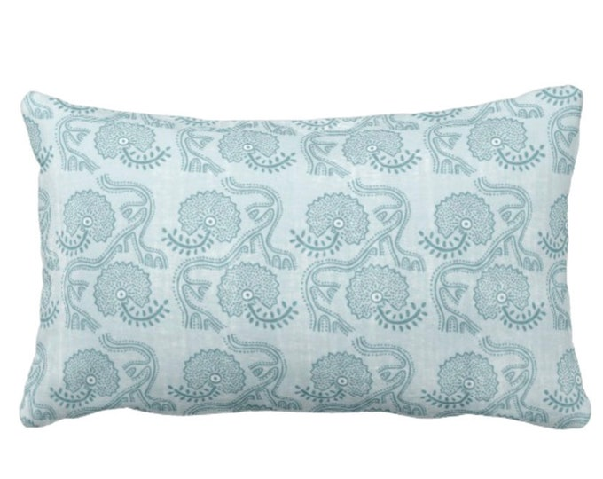 """OUTDOOR Block Print Floral Throw Pillow or Cover, Dusty Turquoise 14 x 20"""" Lumbar Pillows or Covers, Blue/Green Flower/Batik/Boho Pattern"""