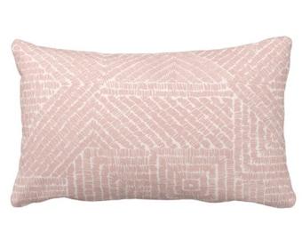 "Tribal Geo Throw Pillow or Cover, Dusty Rose 14 x 20"" Lumbar Pillows or Covers, Blush Pink Geometric/Batik/Boho/Lines/Diamond Pattern/Print"