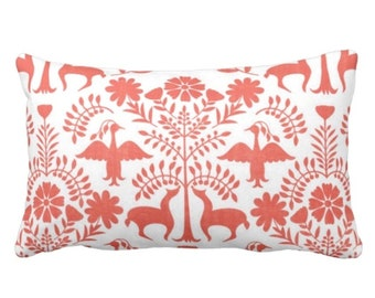 """OUTDOOR Otomi Throw Pillow or Cover, Coral/White 14 x 20"""" Lumbar Pillows/Covers, Mexican/Boho/Floral/Animals/Nature Print/Pattern"""