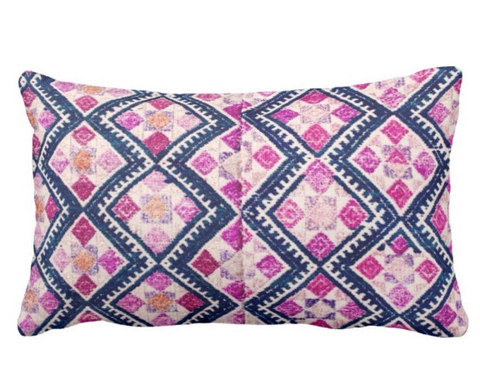 """OUTDOOR Chinese Wedding Blanket PRINTED Throw Pillow or Cover, Navy, Pink, Purple 14 x 20"""" Lumbar Pillows or Covers, Vintage Embroidery"""