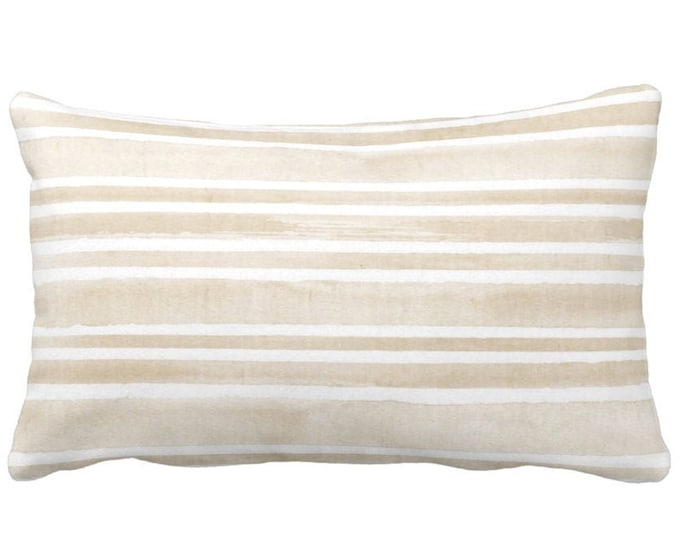 """Watercolor Stripe Throw Pillow or Cover, Sand/White 14 x 21"""" Lumbar Pillows or Covers, Beige/Flax Stripes/Lines/Hand-Painted Print"""