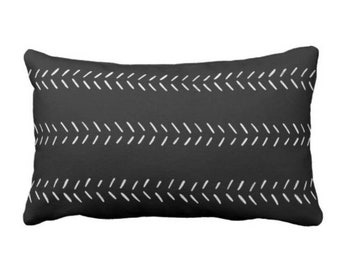 "OUTDOOR Mud Cloth Arrows Print Throw Pillow or Cover, Black/Off-White 14 x 20"" Lumbar Pillows/Covers, Mudcloth/Tribal/Geometric/Lines"