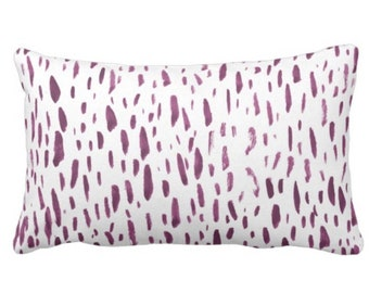 """Hand-Painted Dashes Throw Pillow or Cover, Plum/White 14 x 20"""" Lumbar Pillows or Covers Modern Purple Dots/Dash/Splatter Print"""