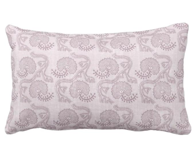 "Block Print Floral Throw Pillow or Cover, Lavender 14 x 20"" Lumbar Pillows or Covers, Dusty Purple Flower/Batik/Boho/Blockprint Pattern"