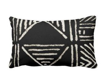 "OUTDOOR Mud Cloth Print Throw Pillow or Cover, Black/Off-White 14 x 20"" Lumbar Pillows/Covers, Mudcloth/Boho/Tribal/Geometric/Geo"