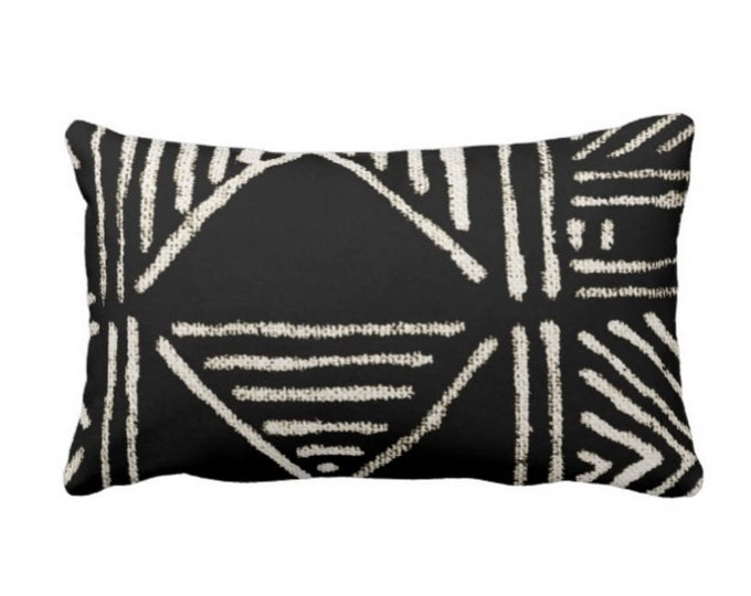 "OUTDOOR Mud Cloth Print Throw Pillow or Cover, Black/Off-White 14 x 20"" Lumbar Pillows/Covers, Mudcloth/Boho/Tribal/Geometric/Geo"