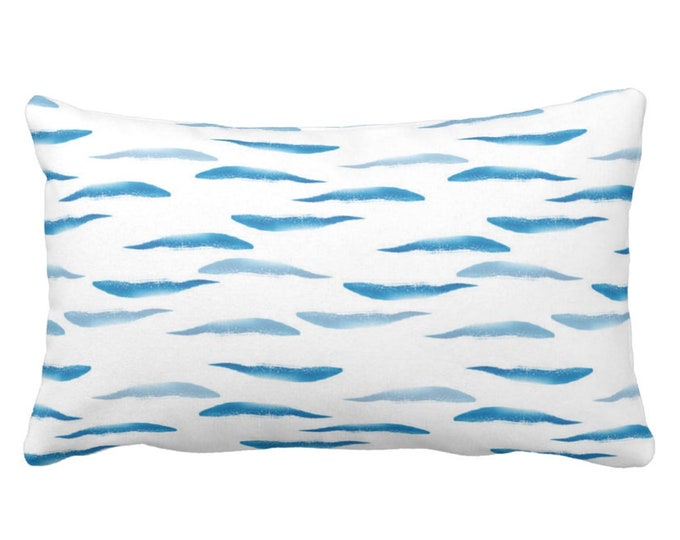 "OUTDOOR Watercolor Waves Throw Pillow or Cover, 14 x 20"" Lumbar Pillows/Covers, Ocean Blue & White Abstract/Modern Wave Nautical Pattern"