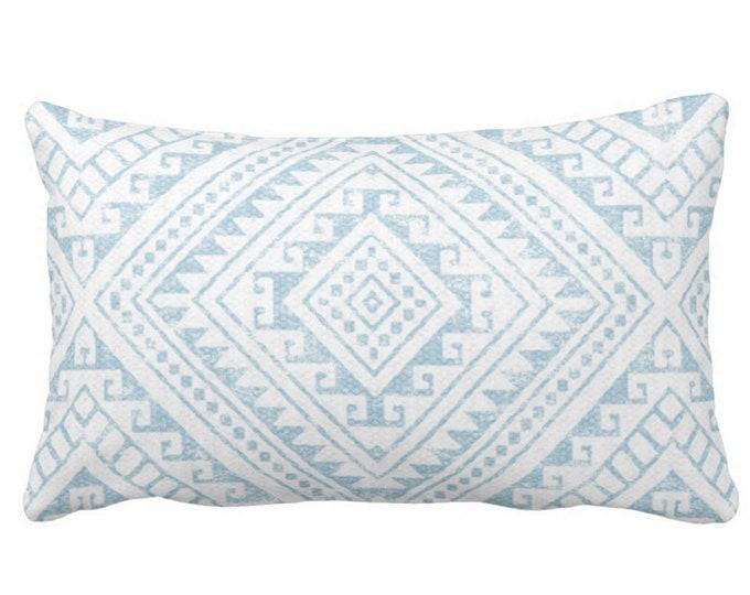 "Diamond Geo Throw Pillow or Cover, Sky Blue 14 x 20"" Lumbar Pillows or Covers, Aqua/White Geometric/Batik/Geo/Tribal Print/Pattern"