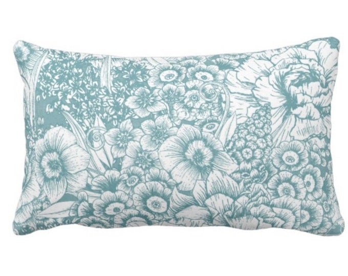 """Retro Floral Throw Pillow or Cover, Soft Teal/White 14 x 20"""" Lumbar Pillows or Covers, Dusty Blue/Green, Flowers/Botanical/Print"""