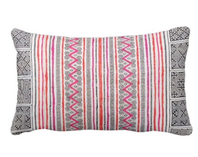 "OUTDOOR Thai Batik Print Throw Pillow or Cover, Indigo/Pink/Orange 14 x 20"" Lumbar Pillow or Covers, Printed Vintage Embroidery Textile"