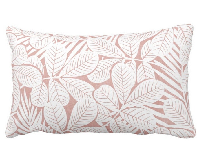 """Modern Leaves Throw Pillow or Cover, Pink & White Print 20 x 14"""" Lumbar Pillows or Covers, Millenial/Dusty Retro Tropical Print/Pattern"""