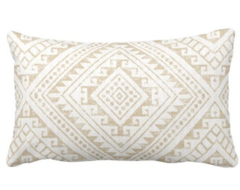 "OUTDOOR Diamond Geo Throw Pillow or Cover, Sand 14 x 20"" Lumbar Pillows/Covers, Light Beige/Flax/Cream Geometric/Batik/Geo/Tribal Print"