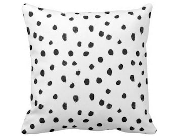 """Dots-Scape Throw Pillow or Cover, Modern Black and White Print 14, 16, 18, 20 or 26"""" Square Pillows or Covers, Dots/Spots/Spotted/Dotted"""