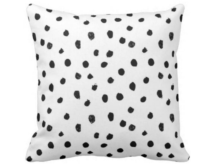 "Dots-Scape Throw Pillow or Cover, Modern Black and White Print 14, 16, 18, 20 or 26"" Square Pillows or Covers, Dots/Spots/Spotted/Dotted"