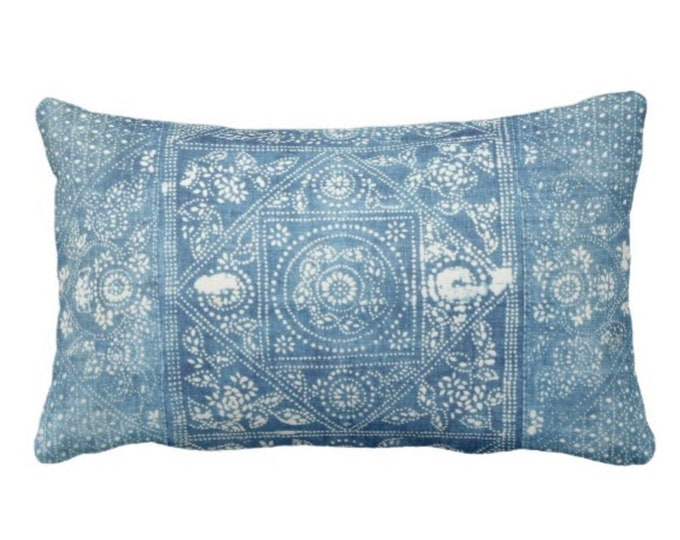 """OUTDOOR Batik Printed Throw Pillow or Cover, Indigo 14 x 20"""" Lumbar Pillows or Covers, Blue Vintage Chinese Miao Tribe/Tribal Print"""