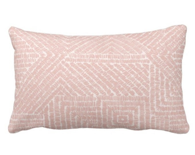 "OUTDOOR Tribal Geo Throw Pillow or Cover, Dusty Rose 14 x 20"" Lumbar Pillows/Covers, Blush Pink Geometric/Batik/Geo/Diamond Pattern/Print"