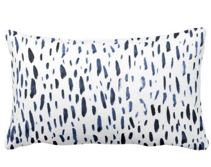 "OUTDOOR Hand-Painted Dashes Throw Pillow or Cover, Navy/White 14 x 20"" Lumbar Pillows/Covers, Blue Dot/Dash/Abstract/Splatter Print"