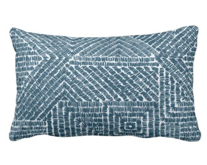 "OUTDOOR Tribal Geo Throw Pillow or Cover, Teal 14 x 20"" Lumbar Pillows/Covers, Dark Blue/Green Geometric/Batik/Geo/Diamond Pattern/Print"