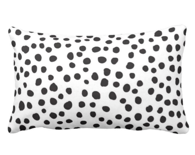 "Leopard Dots Lumbar Throw Pillow or Cover, 14 x 20"" Modern Black/White Pillows or Covers, Polka/Spot/Spots/Spotted Print/Pattern"