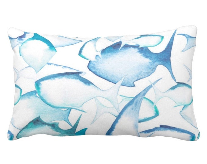 """Watercolor Fish Throw Pillow or Cover, 14 x 20"""" Lumbar Pillows or Covers, Painted Blue/White Modern/Nautical/Fish Pattern, Light/Bright"""