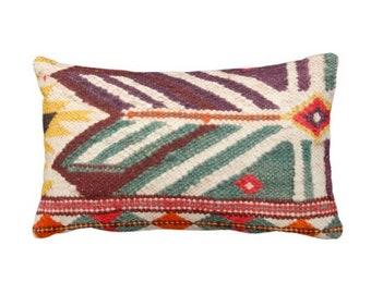 "READY 2 SHIP Boho Geometric Print Throw Pillow Cover Lumbar 14 x 20"" Pillow Covers, Purple/Teal/Yellow/Orange Boho/Ethnic/Rug/Tribal"