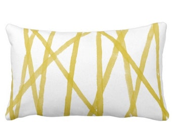 "OUTDOOR Hand-Painted Lines Throw Pillow or Cover, Primrose Yellow/White 14 x 20"" Lumbar Pillows or Covers Channels/Stripes Bright Print"
