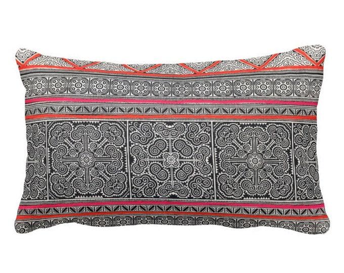 "OUTDOOR Thai Batik Printed Throw Pillow or Cover, Dark Indigo, Pink & Orange 14 x 20"" Lumbar Pillows or Covers, Vintage Chinese Print"
