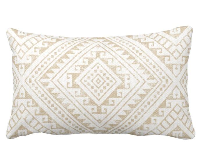 "Diamond Geo Throw Pillow or Cover, Sand 14 x 20"" Lumbar Pillows or Covers, Light Beige/Flax/Cream Geometric/Batik/Geo/Tribal Print"
