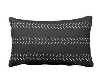 """OUTDOOR Mud Cloth Arrows Print Throw Pillow or Cover, Black/Off-White 14 x 20"""" Lumbar Pillows/Covers, Mudcloth/Tribal/Geometric/Lines"""