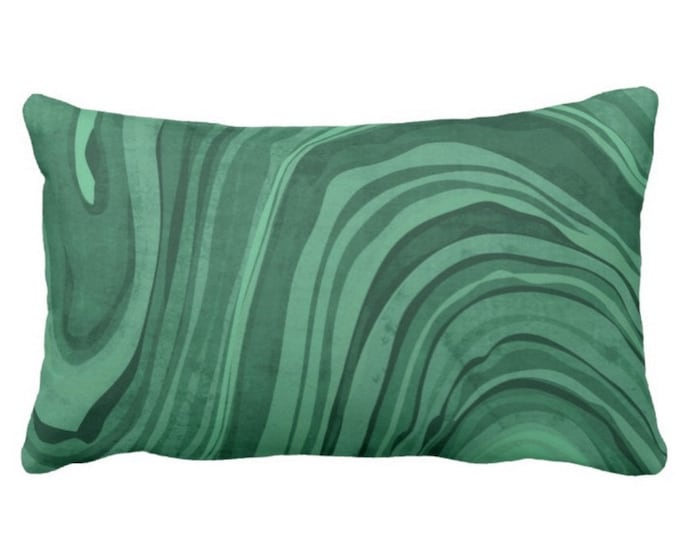 "OUTDOOR Marbled Print Pillow or Cover, Jewel Tone Green Tourmaline 14 x 20"" Lumbar Pillows/Covers, Emerald Deep Forrest Swirl/Wave/Abstract"