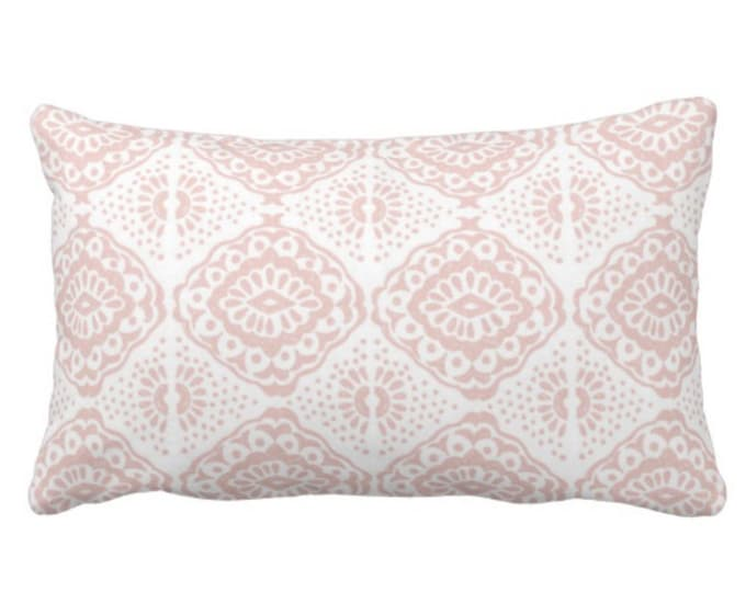"OUTDOOR Block Print Medallion Throw Pillow or Cover, Pink/White 14 x 20"" Lumbar Pillows/Covers, Blush Geometric/Batik/Geo Pattern/Print"