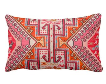"OUTDOOR Colorful Kilim PRINTED Throw Pillow or Cover, Boho Rug Print 14 x 20"" Lumbar Pillows or Covers, Pink/Orange/Red Tribal Geometric/Geo"